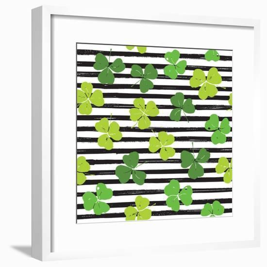 Clover Leaf Illustration - St Patricks Day-Anton Yanchevskyi-Framed Premium Giclee Print