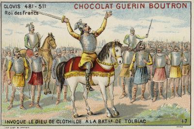 Clovis I Invoking the God of Clotilde at the Battle of Tolbiac, 496--Giclee Print