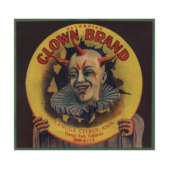 Clown Brand - Canoga Park, California - Citrus Crate Label-Lantern Press-Art Print