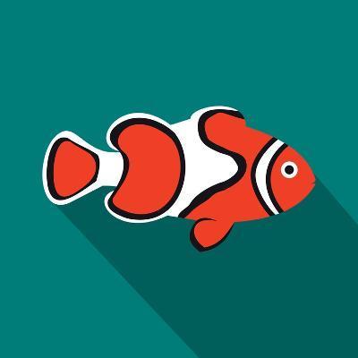 Clown Fish Icon, Flat Style-Ivan Ryabokon-Art Print
