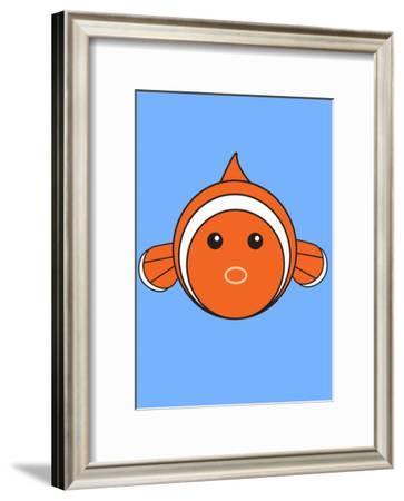 Clown Fish On Blue--Framed Art Print