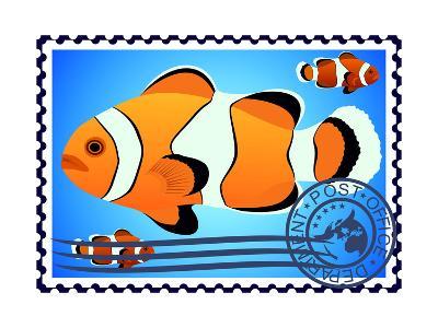 Clown Fish. Postage Stamp- GUARDING-OWO-Art Print