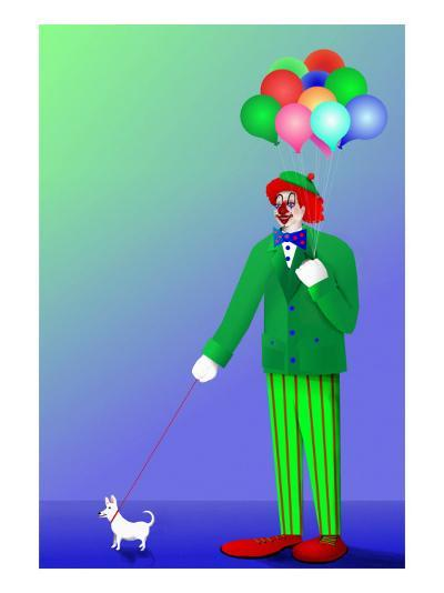 Clown Holding Balloons and Dog on Leash-Rich LaPenna-Giclee Print