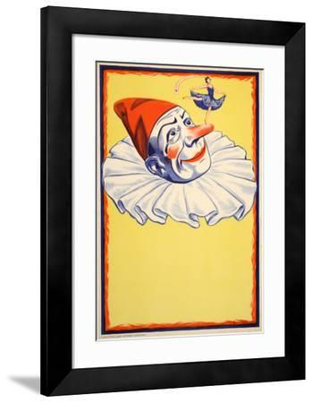 Clown on Yellow Background (c.1930)--Framed Collectable Print