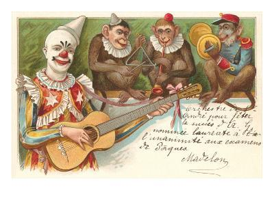 Clown Playing Guitar with Monkey Band--Art Print