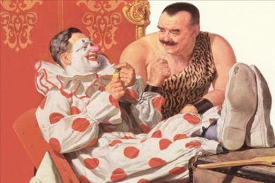 Clown Relaxing with Strongman