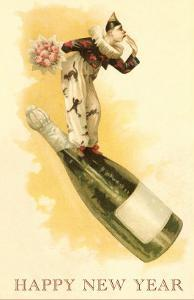 Clown with Bouquet on Champagne Bottle