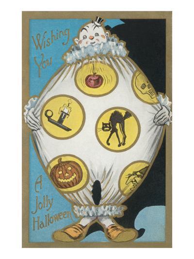 Clown with Halloween Motifs--Art Print