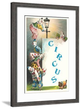 Clowns with Lamppost and Angry Pub--Framed Art Print