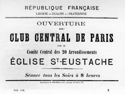 Club Central De Paris, from French Political Posters of the Paris Commune, May 1871--Giclee Print