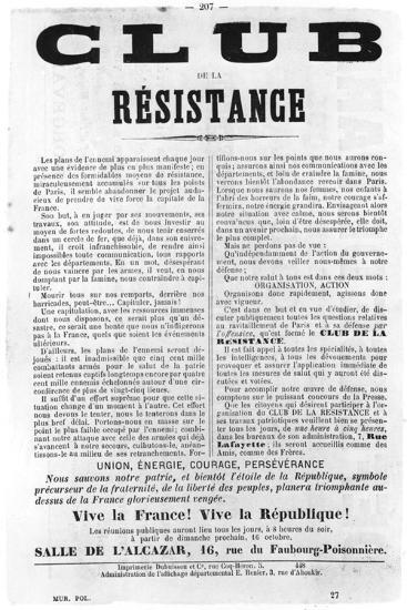 Club De La Resistance, from French Political Posters of the Paris Commune, May 1871--Giclee Print