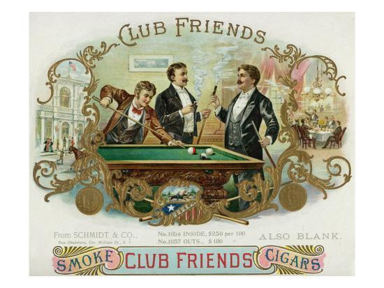 Club Friends Brand Cigar Box Label, Billards-Lantern Press-Art Print
