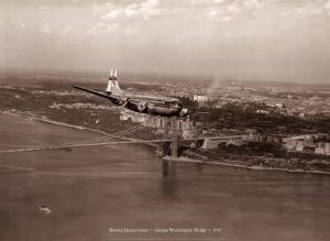 Boeing Stratocruiser, George Washington Bridge, 1949 by Clyde Sunderland