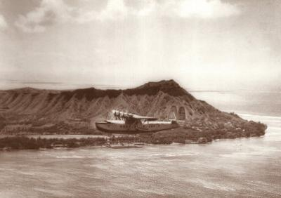 Pan American Clipper over Waikiki, Hawaii, 1935 by Clyde Sunderland
