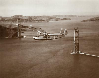 Sikorsky S-42 through the Golden Gate under Construction, San Francisco, 1935