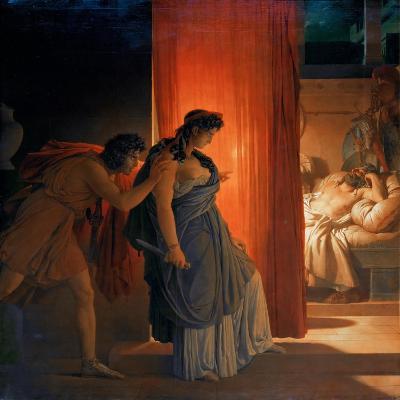 Clytemnestra Hesitates before Killing the Sleeping Agamemnon-Pierre Narcisse Gu?rin-Giclee Print