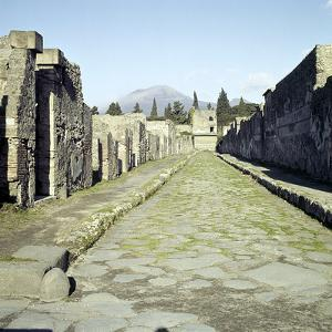 A Pompeii Street with Vesuvius in the Distance, Italy by CM Dixon