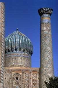 Decoration on tower and dome of Shir-Dar Madrasa, Samarkand. Uzbekistan, c20th century by CM Dixon