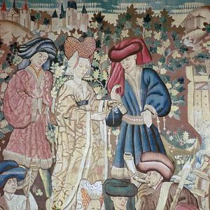 Detail from the Devonshire Hunting Tapestries, 15th Century by CM Dixon