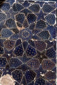 Glazed brick tiling in Shah-i-Zinda Complex, Samarkand, 14th-15th century by CM Dixon