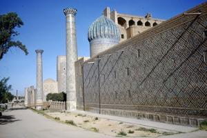 Outside wall of Shir-Dar Madrasa, Samarkand, c20th century by CM Dixon