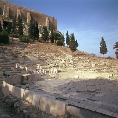 Shot of the Theatre of Dionysus in Athens, 5th Century Bc