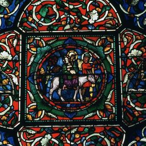 Stained Glass Depiction of the Holy Family Fleeing to Egypt, 12th Century by CM Dixon
