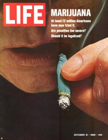 Marijuana, Man with Joint by his Mouth, October 31, 1969