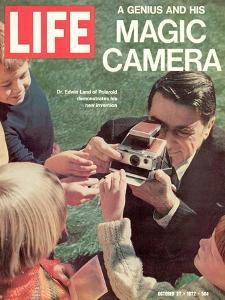 Polaroid's Edwin Land with New Instant Camera, October 27, 1972 by Co Rentmeester