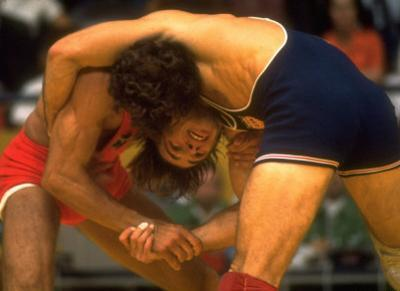 Wrestlers Wayne Wells and Ali Demirtas in Action at the Summer Olympics