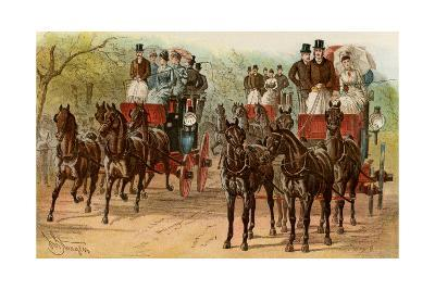 Coaches and Horse Teams of Upperclass Londoners, 1880s--Photographic Print