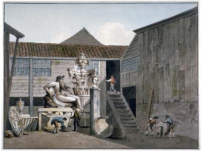 Coade Stone Factory Yard on Narrow Wall Street, Lambeth, London, C1800-George Shepherd-Giclee Print