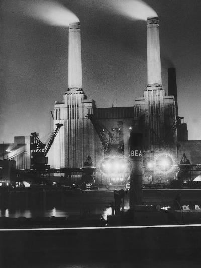 Coal Ships Unload at Battersea Power Station, July 1950--Photographic Print