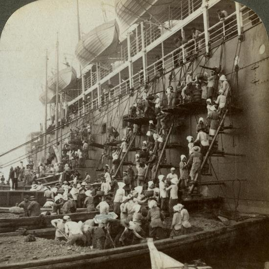 Coaling the Pacific Mail Ss 'Siberia, at the Fortified Naval Station of Nagasaki, Japan, 1904-Underwood & Underwood-Photographic Print