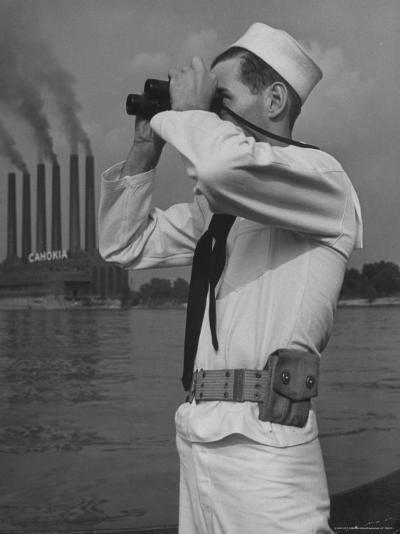 Coast Guard Patrolling Mississippi River Opposite East Saint Louis Power Plant-Alfred Eisenstaedt-Photographic Print