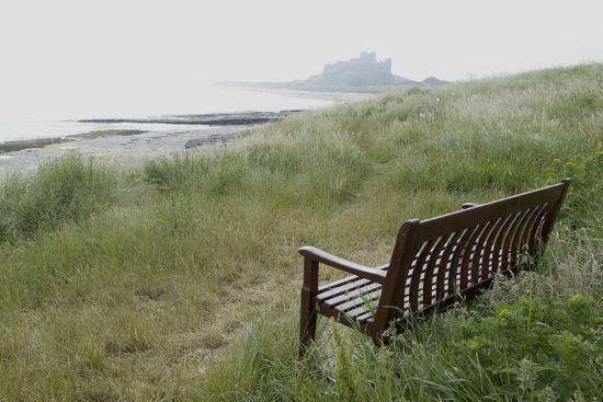 Coast Looking South with the Silhouette of Bamburgh Castle on the Horizon Bamburgh England-Natalie Tepper-Photo