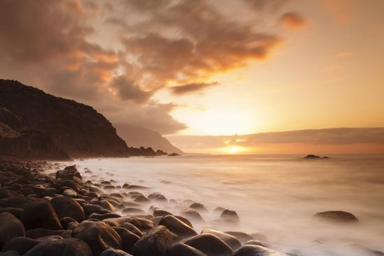 Coast Near Los Llanillos at Sunset, El Golfo Valley, El Hierro, Canary Islands, Spain-Markus Lange-Photographic Print