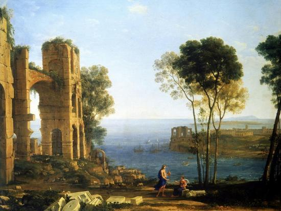 Coast View with Apollo and the Cumaean Sibyl, Between 1645 and 1649-Claude Lorraine-Giclee Print