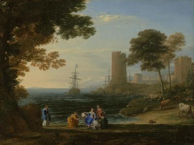 Coast View with the Abduction of Europa, c.1645-Claude Lorrain-Framed Giclee Print