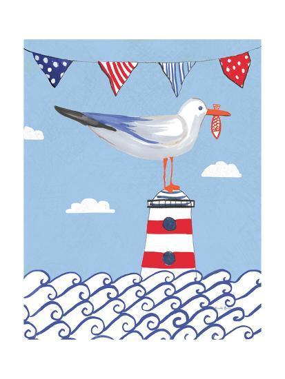 Coastal Bird I Flags on Blue-Farida Zaman-Art Print