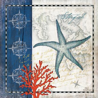 Coastal Blue Starfish-Jennifer Pugh-Art Print