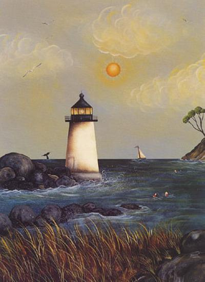 Coastal Harbor Light-Jessica Fries-Art Print