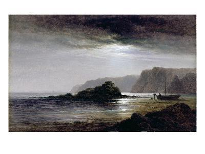 Coastal Landscape by Moonlight (Oil on Panel)-Arthur Gilbert-Giclee Print