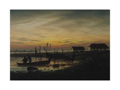 Coastal Landscape, Sunset, Um 1816-1818-Caspar David Friedrich-Giclee Print