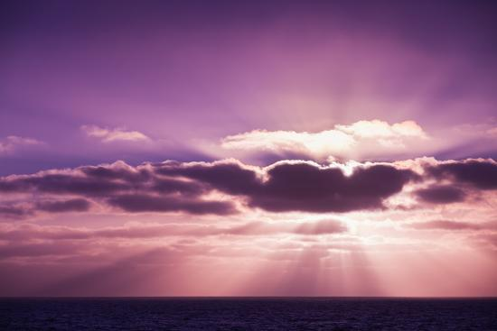 Coastal Landscape with Sun Beams in Dramatic Sky, Portugal-Eugene Sergeev-Photographic Print