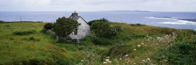 Coastal Landscape with White Stone House, Galway Bay, the Burren Region, Ireland--Photographic Print