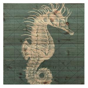 """Coastal Menagerie C"" Arte de Legno Digital Print on Solid Wood Wall Art"