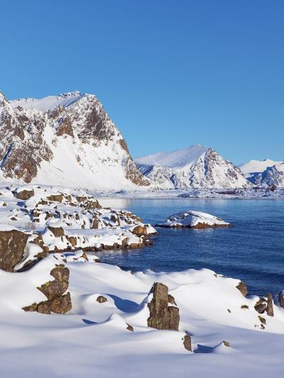 Coastal mountains in the Lofoten Islands in new snow-Frank Krahmer-Photographic Print