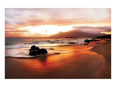 Coastal Rocks in Hawaii at Sunset-Shane Settle-Art Print