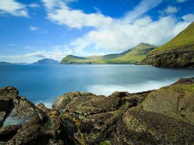 Coastal Scenery with the Vagafjordur and Streymoy Island in the Background, Village of Sydradalur, -Kimberley Coole-Photographic Print